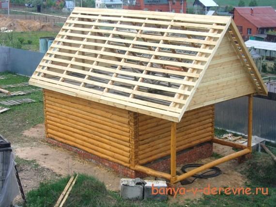 Односкатная крыша на баню пошагово